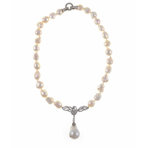 "Petit Odette Pearl Necklace in Silver: Single strand white 11-12mm potato pearls, 5 cm CZ set silver-tone swan pendant with 13-15mm single biawa pearl pendant. CZ covered mixed metal locking circle clasp, 18"" in length (princess length)"