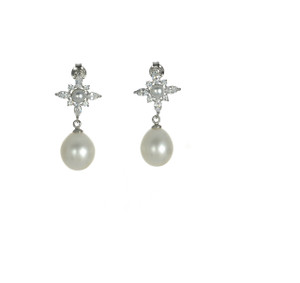 zoom on Versailles Pearl Earrings: Exceptional 9x11mm freshwater pearl dangle Sterling silver earrings, dangle from a CZ stud, Sterling silver friction back.