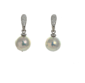 Captiva Pearl Earrings & ice color earrings: Sterling silver, Edison Pearls 12-13mm topped with a circlet of ice colored CZs, on hinged Sterling silver ice (clear) CZ encrusted closure