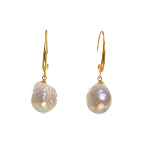 Fairy Pools - Pearl Earrings, 13-15mm Edison pearl earrings in white or natural pink/gold Gold-plated Sterling Silver drop hoops.