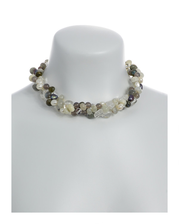 Pearl Necklace Accented with Stones, Boulder Brook On model: Triple strand, white and charcoal freshwater potato pearls 8-9mm, crystal quartz, moonstone, agate, and jade on individually hand-knotted natural silk with rare earth mixed metal magnetic clasp.