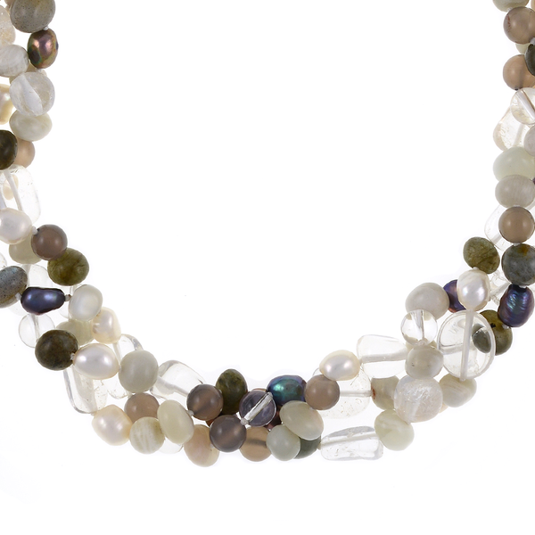 Pearl Necklace Accented with Stones, Boulder Brook zoom: Triple strand, white and charcoal freshwater potato pearls 8-9mm, crystal quartz, moonstone, agate, and jade on individually hand-knotted natural silk with rare earth mixed metal magnetic clasp.