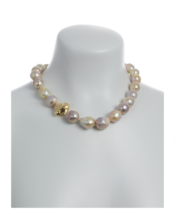 Cherry Blossom - Pearl Necklace On model: Single strand natural color pink and purple gold Edison pearls 14-17mm, with sterling silver bead dipped in 9K gold, on individually hand-knotted natural silk, featuring brushed gold tone double-sided magnetic moonlight clasp set with a single CZ.