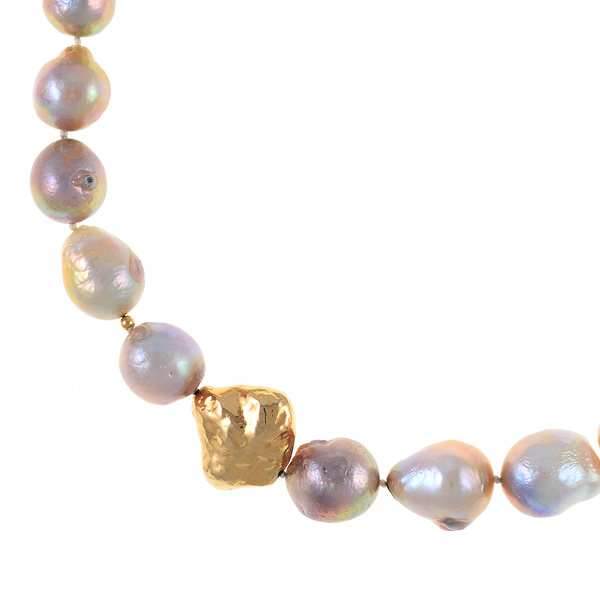 Cherry Blossom - Pearl Necklace zoom 1, showing close-up of sterling silver bead dipped in 9K gold: Single strand natural color pink and purple gold Edison pearls 14-17mm, with sterling silver bead dipped in 9K gold, on individually hand-knotted natural silk, featuring brushed gold tone double-sided magnetic moonlight clasp set with a single CZ.