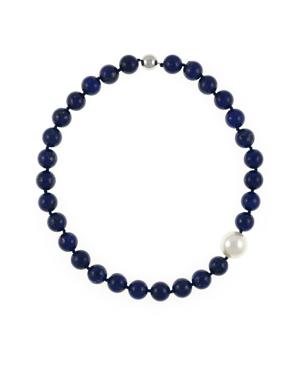 Côte d'Azur - Lapis and Pearl Necklace, Single strand lapis beads 14mm flecked with pyrite, with offset shell pearl 20mm, on individually hand knotted black silk, featuring rare earth mixed metal magnetic clasp