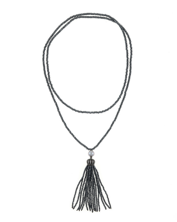 """Cotton Club Collection* - Hematite and Pearl Jewelry, Single strand gunmetal tone hematite bead necklace with white freshwater pearl 9mm, suspended with CZ set gunmetal toned crown supporting hematite bead tassel, overall drop 3"""", 32"""" in length."""