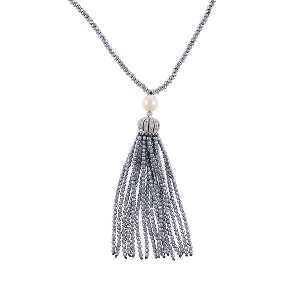 """Cotton Club Collection* - Hematite and Pearl Jewelry, zoom of silver-tone tassel: Single strand silver-tone hematite bead necklace with white freshwater pearl 9mm, suspended with CZ set silver-toned crown supporting hematite bead tassel, overall drop 3"""", 32"""" in length."""