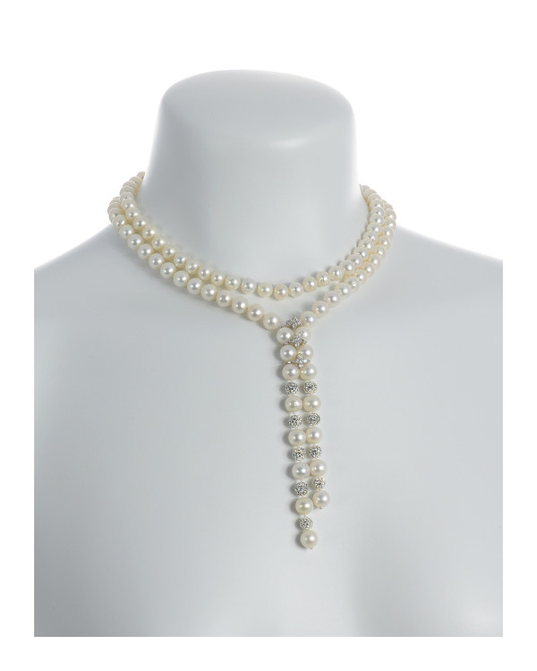 Diamond Falls - Pearl Necklace on model, shown in the choker style: Exceptional quality single strand freshwater white pearls 8-9mm, silver swarovski encrusted beads 6mm, stainless steel spacers with CZs, on individually hand-knotted white silk