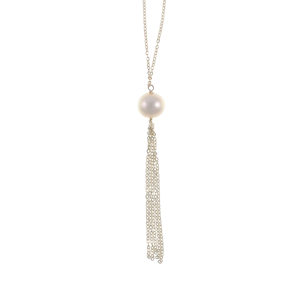 "Kensington Pearl necklace: Freshwater pearl 12mm with 2.5"" sterling silver tassel, on 40"" sterling silver chain, zoom of pearl and tassel"