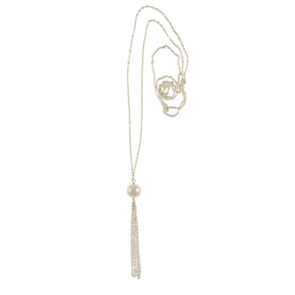 "Kensington Pearl necklace: Freshwater pearl 12mm with 2.5"" sterling silver tassel, on 40"" sterling silver chain"