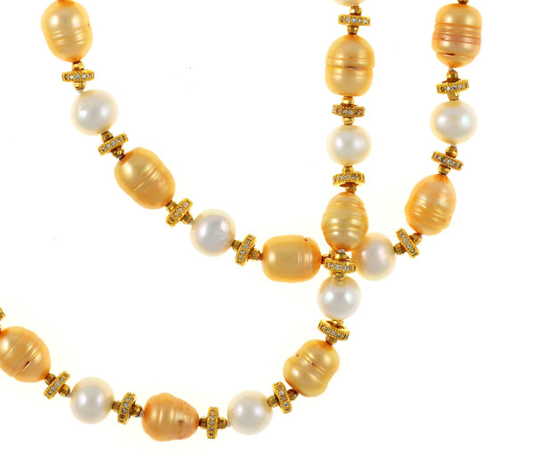 "Leone d'Oro I Pearl Necklace zoom: Single strand freshwater white 9mm and gold 10.5x13mm laser dyed gold pearls interspaced with finely detailed CZ and brass beads, 26"" in length"