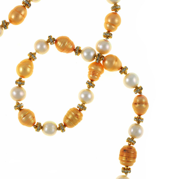 """Leone d'Oro II - Pearl Necklace zoom: Single strand freshwater pearl necklace, white 9mm and gold 10.5x13mm laser dyed pearls interspaced with crystal and mixed metal beads, longer necklace, 30"""", rope or lariat length"""