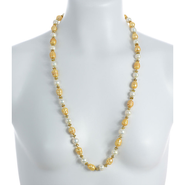 """Leone d'Oro II - Pearl Necklace on model: Single strand freshwater pearl necklace, white 9mm and gold 10.5x13mm laser dyed pearls interspaced with crystal and mixed metal beads, longer necklace.  30"""", rope or lariat length"""