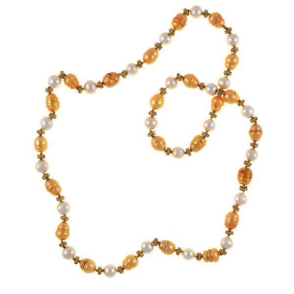 """Leone d'Oro II - Pearl Necklace: Single strand freshwater pearl necklace,  white 9mm and gold 10.5x13mm laser dyed pearls interspaced with crystal and mixed metal beads, longer necklace, 30"""", rope or lariat length"""
