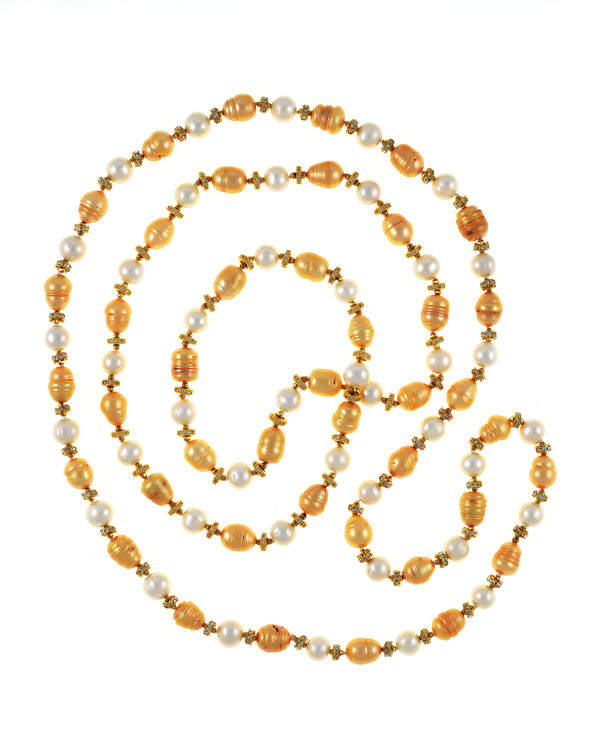 """Pearl necklace, Leone d'Oro I (http://naughtonbraun.com/leone-doro-i-pearl-necklace/) and Leone d'Oro II shown together  where Leone d'Oro II is longer, 30"""", rope or lariat length"""