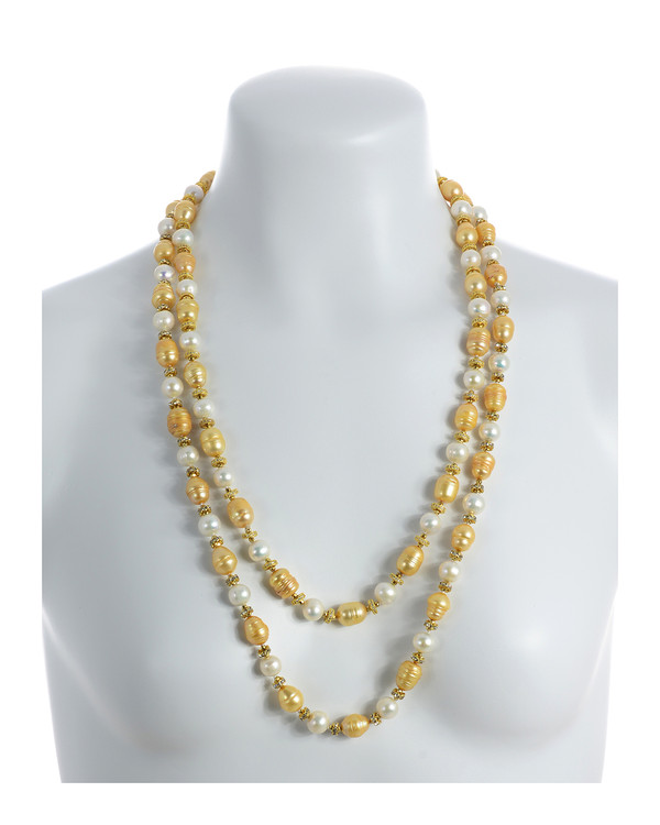 """Pearl necklace, Leone d'Oro I (http://naughtonbraun.com/leone-doro-i-pearl-necklace/) and Leone d'Oro II shown together on model where Leone d'Oro II is longer, 30"""",  rope or lariat length"""