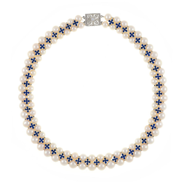 """Monaco Royal necklace: double strand white 7-8mm freshwater pearls, white 8-9mm freshwater pearls, separated by stainless steel and royal blue colored CZ spacers, sterling silver clasp on hand-knotted natural silk, 18"""" in length with jump chain allows for additional overall 20"""" length, (princess length, expands to matinee length)"""