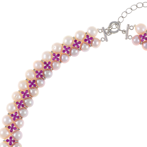 """zoom Monaco Rose necklace: double strand 7-8mm natural color freshwater pink pearls, white 8-9mm freshwater pearls, separated by stainless steel and rose colored CZ spacers, sterling silver clasp on hand-knotted natural silk, 18"""" in length with jump chain allows for additional overall 20"""" length, (princess length, expands to matinee length)"""