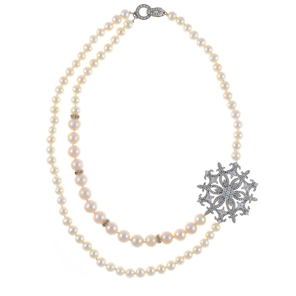 """Mont Blanc Pearl Necklace: Partial double strand white freshwater pearls 7-9.5mm, handset CZs in stainless steel offset  brooch, on individually hand-knotted white silk, sterling silver clasp, 18"""" in length, princess length."""