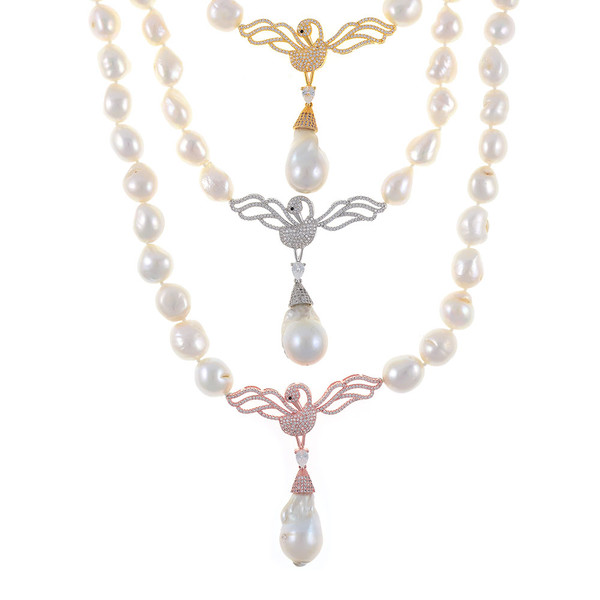 """Odette Anthology* - Pearl Necklace, View of all 3 Odette Necklaces: Single strand white potato pearls 13-14mm, 7cm CZ gold-tone, or silver-tone, or rose-gold tone swan pendants with biawa 18-19mm, CZ covered gold-tone mixed metal locking circle clasp, 18"""" in length, princess length"""