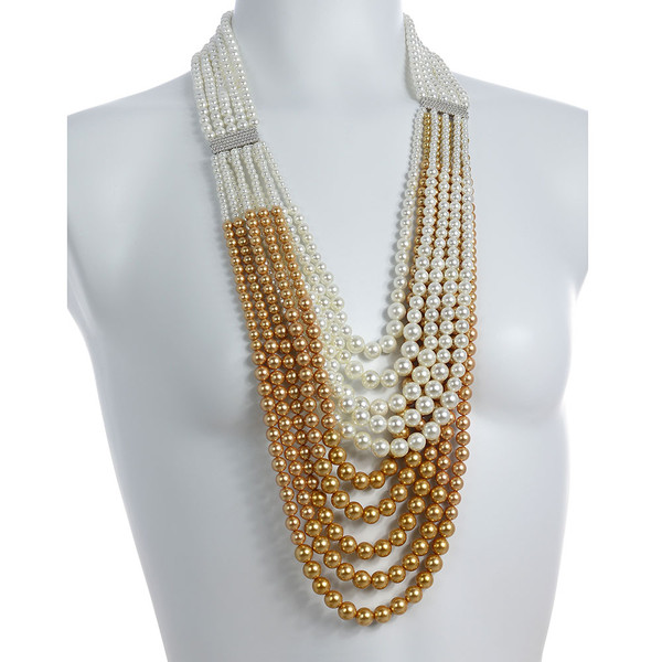 """on model, Potala Palace Pearl necklace: Magnificent 5 strands transitioning into 10 strands, exceptional white and gold shell pearls 4-10mm, 5 bar CZ enhanced mixed metal spacer, 28"""" transitioning to 36"""" in length (lariat style draped necklace)"""