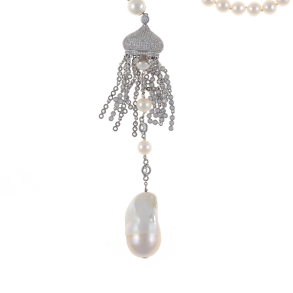 """Shanghai Pearl necklace zoom of biawa freshwater pearl: Sterling silver pendant: Single strand exceptional quality white freshwater pearls 8mm, featuring suspended pendant in 925 Sterling with handset CZs, 3"""" drop with freshwater pearls 8mm, interspersed with CZs in Sterling silver, large white biawa 17-20 x 28mm on separate 925 Sterling silver clasp set with CZs, 18"""" in length necklace with 4"""" drop (princess length). Total length 22"""""""