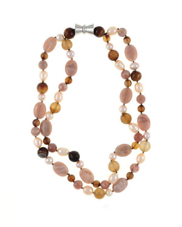 "Taos Pearl Necklace Accented with Stones: Double strand natural colored round 8.5mm peach and 10mm oval freshwater pearls, integrated with sunstone oval beads and mixed color agate, on individually hand-knotted beige silk with a rare earth mixed metal magnetic clasp, 18"" in length (princess length)"