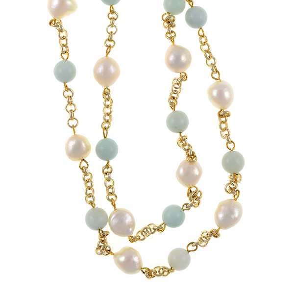 "zoom of Tibet III Pearl Necklace Accented with Stones: Single strand 11-12mm white freshwater potato pearls mixed with amazonite beads on mixed metal gold-tone chain, 40"" in length (rope length)"