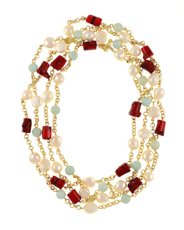 "Tibet II and III Pearl Necklace Accented with Stones: Single strand 11-12mm white freshwater potato pearls mixed with amazonite beads on mixed metal gold-tone chain and Single strand 11-12mm white freshwater potato  pearls, mixed with dyed red coral, on mixed metal gold-tone chain, 40"" in length (rope length)"