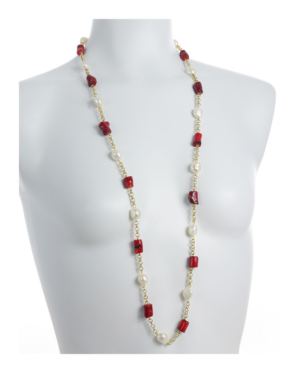 "on model Tibet II Pearl Necklace Accented with Stones: Single strand 11-12mm white freshwater potato  pearls, mixed with dyed red coral, on mixed metal gold-tone chain, 40"" in length (rope length)"