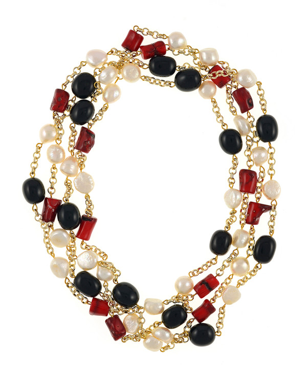 "Tibet I and II Pearl Necklace Accented with Stones: Single strand 11-12mm white freshwater potato pearls mixed with oval polished onyx, on mixed metal gold-tone chain and Single strand 11-12mm white freshwater potato  pearls, mixed with dyed red coral, on mixed metal gold-tone chain, 40"" in length (rope length)"