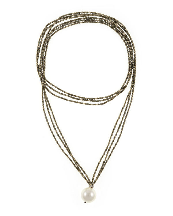 """Trafalgar Taupe Hematite & Pearl Jewelry necklace: Triple strand colored hematite Taupe bead necklace featuring single shell pearl 20mm, 36"""" in length, rope length"""