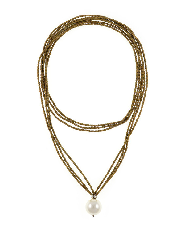 """Trafalgar Hematite & Pearl Jewelry Gold necklace: Triple strand colored hematite gold bead necklace featuring single shell pearl 20mm, 36"""" in length, rope length"""