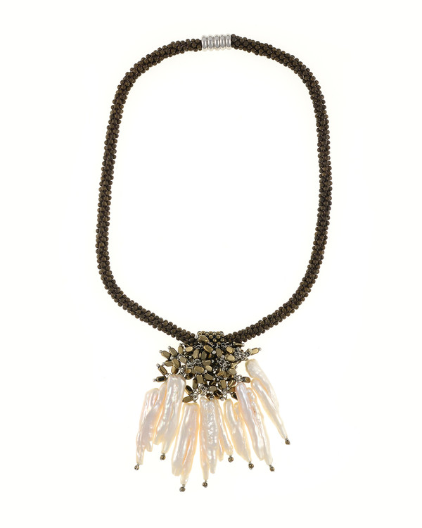 """The Luray Treasury* Pearl Necklace in Taupe: Hand-woven taupe matte hematite bead necklace with 8 dangling tooth freshwater pearls and matching polished hematite beads, with rare earth mixed metal magnetic clasp, 17"""" length with 2.5"""" tooth pearl drop."""