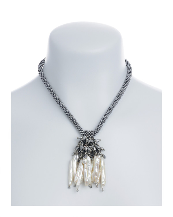 """The Luray Treasury* Pearl Necklace on model in Silver: Hand-woven silver matte hematite bead necklace with 8 dangling tooth freshwater pearls and matching polished hematite beads, with rare earth mixed metal magnetic clasp, 17"""" length with 2.5"""" tooth pearl drop."""
