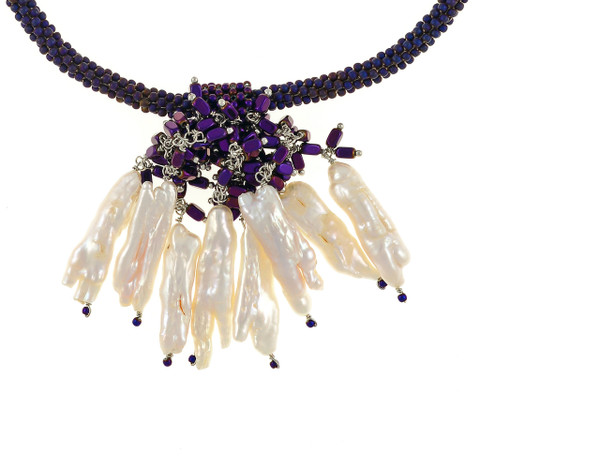 """The Luray Treasury* Pearl Necklace, zoom on Amethyst tooth pearls on necklace:Hand-woven amethyst matte hematite bead necklace with 8 dangling tooth freshwater pearls and matching polished hematite beads, with rare earth mixed metal magnetic clasp, 17"""" length with 2.5"""" tooth pearl drop."""