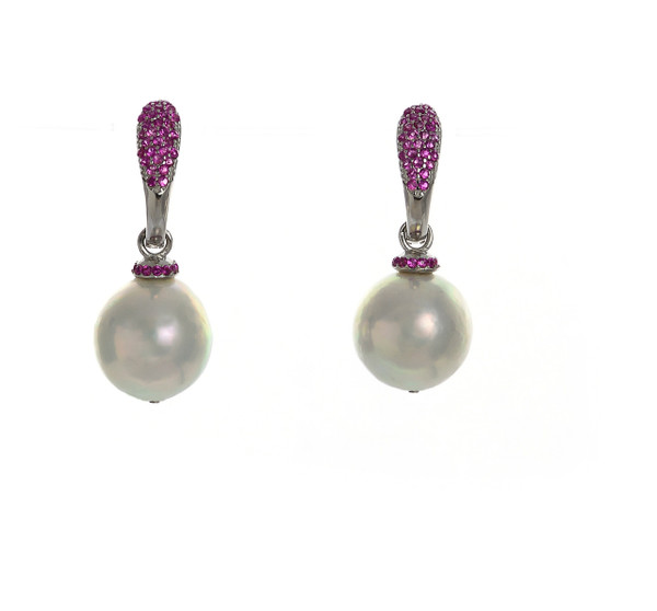 Captiva Pearl earrings & rose colored earrings: Sterling silver, Edison Pearls 12-13mm topped with a circlet of rose colored CZs, on hinged Sterling silver rose CZ encrusted closure