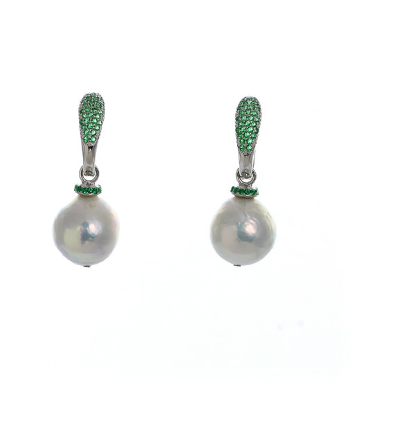 Captiva Pearl Earrings & emerald color earrings: Sterling silver, Edison Pearls 12-13mm topped with a circlet of emerald green colored CZs, on hinged Sterling silver emerald green CZ encrusted closure
