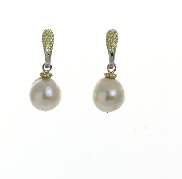 Captiva Pearl Earrings & canary colored earrings: Sterling silver, Edison Pearls 12-13mm topped with a circlet of canary yellow colored CZs, on hinged Sterling silver canary yellow CZ encrusted closure