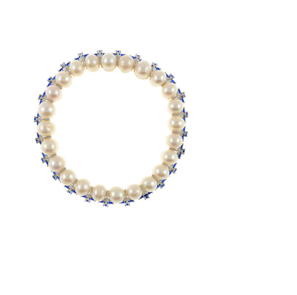 zoom on Monaco Pearl Bracelet: Double strand white freshwater pearls 7-8mm, separated by stainless steel and royal blue colored CZ spacers on elastic, one size.