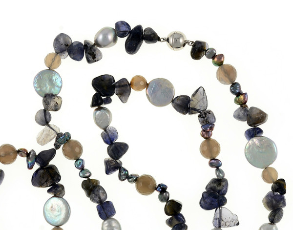 """Nederland - Pearl Necklace Accented with Stones, zoom on necklace, 10-11mm silver potato pearls, 13-14mm silver coin pearls, and 5-7mm keshi pearls interspersed with 8-10mm grey agate and tanzanite, individually hand-knotted on silk, 40"""" in length, lariat length"""
