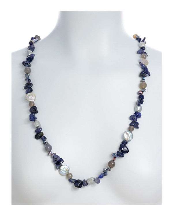 """Nederland - Pearl Necklace Accented with Stones on model necklace draped, 10-11mm silver potato pearls, 13-14mm silver coin pearls, and 5-7mm keshi pearls interspersed with 8-10mm grey agate and tanzanite, individually hand-knotted on silk, 40"""" in length, lariat length"""