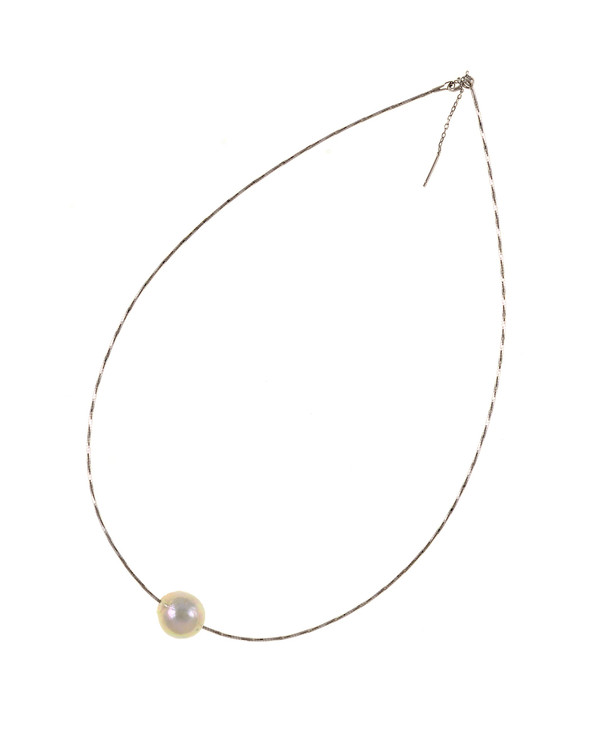 """South Beach Pearl Necklace, Large white freshwater pearl 12-14mm on Sterling silver finely woven chain, spring ring clasp with threader, 21"""" in length."""