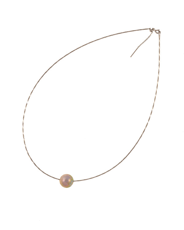 """South Beach Pearl Necklace, Large natural pink Edison freshwater pearls, 12-14mm on Sterling silver finely woven chain, spring ring clasp with threader, 21"""" in length."""
