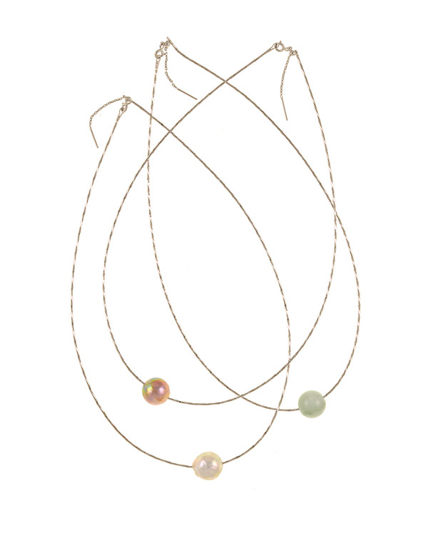"""South Beach Pearl Necklace, Freshwater Pearls and Jade ball necklace: Large white and natural pink Edison freshwater pearls and jade baubles, 12-14mm on Sterling silver finely woven chain, spring ring clasp with threader, 21"""" in length. All three beads included."""