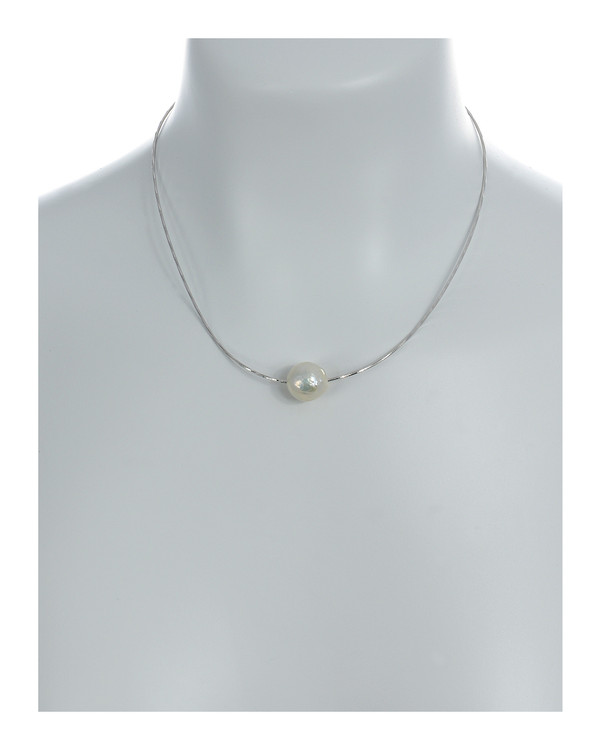 """South Beach Pearl Necklace On model, Large white freshwater Edison pearl, 12-14mm on Sterling silver finely woven chain, spring ring clasp with threader, 21"""" in length. All three beads included."""