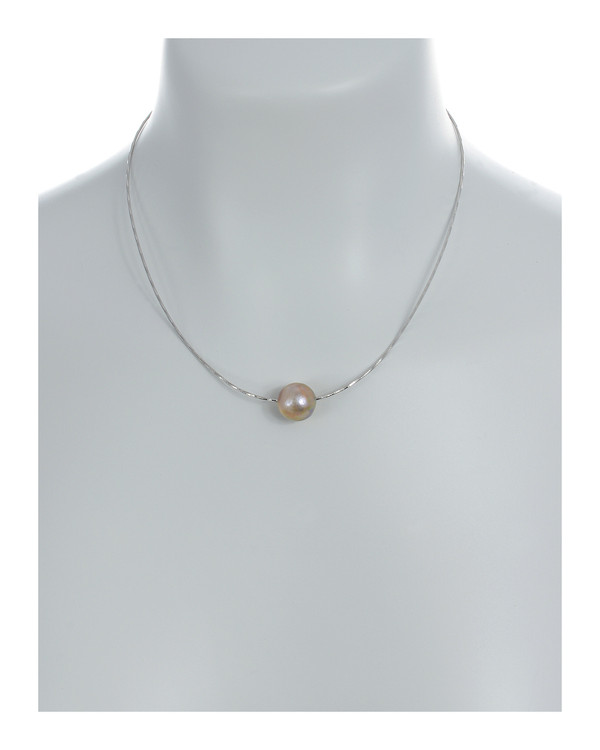 """South Beach Pearl Necklace On model, natural pink Edison freshwater pearls, 12-14mm on Sterling silver finely woven chain, spring ring clasp with threader, 21"""" in length."""
