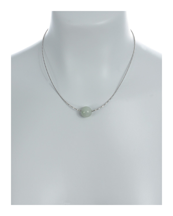 """South Beach Pearl Necklace On model,  jade baubles, 12-14mm on Sterling silver finely woven chain, spring ring clasp with threader, 21"""" in length."""