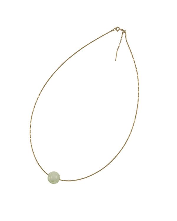 """South Beach Pearl Necklace, featuring a jade bauble, 12-14mm on Sterling silver finely woven chain, spring ring clasp with threader, 21"""" in length."""