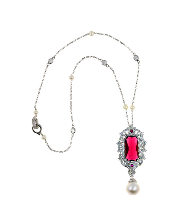 "St Chapelle Pearl Necklace, freshwater Pearls and CZ  Ruby-colored necklace, 12-13mm Edison freshwater Pearl drop off CZ handset pendant with colored CZ crystal, silver color chain with 5-6mm white freshwater pearls and set CZs, CZ encrusted clasp, 19"" total length with 2.7"" drop pendant"